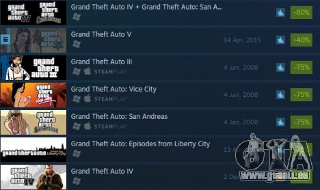 Riesige Rabatte auf Grand Theft Auto-Spiele