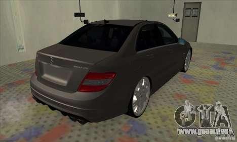 Mercedes-Benz C63 Dub für GTA San Andreas zurück linke Ansicht