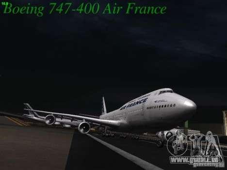 Boeing 747-400 Air France pour GTA San Andreas vue intérieure