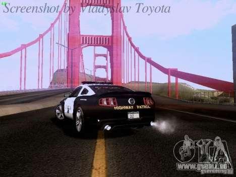 Ford Mustang GT 2011 Police Enforcement pour GTA San Andreas vue arrière