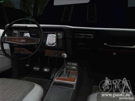 Chevrolet Camaro SS 1969 pour GTA San Andreas vue de dessus