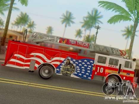 Seagrave FDNY Ladder 10 für GTA San Andreas Rückansicht