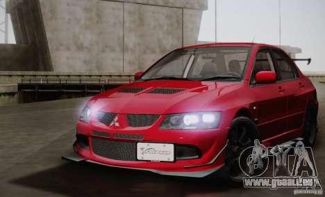 Mitsubishi Lancer Evolution VIII MR Edition für GTA San Andreas zurück linke Ansicht