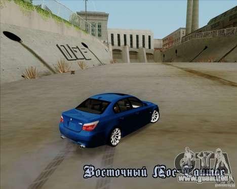 BMW M5 e60 pour GTA San Andreas vue arrière