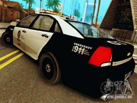 Chevrolet Caprice 2011 Police für GTA San Andreas zurück linke Ansicht
