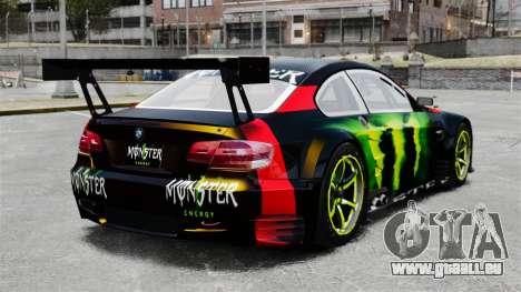 BMW M3 (E90) 2008 Monster Energy v1.2 pour GTA 4 Vue arrière de la gauche