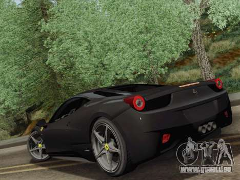 Ferrari 458 Italia 2010 pour GTA San Andreas vue de droite