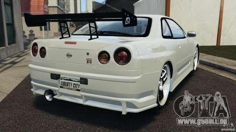 Nissan Skyline GT-R R34 pour GTA 4 Vue arrière de la gauche