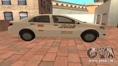 Toyota Corolla - LOLEK TAXI pour GTA San Andreas laissé vue