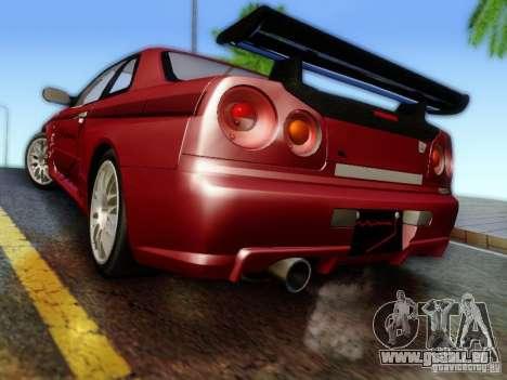 Nissan R34 Skyline GT-R pour GTA San Andreas laissé vue