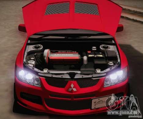 Mitsubishi Lancer Evolution VIII MR Edition pour GTA San Andreas vue intérieure