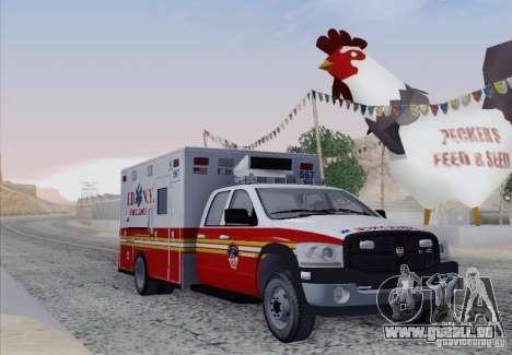 Dodge Ram Ambulance pour GTA San Andreas laissé vue