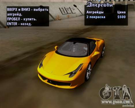 Ferrari 458 Italia V12 TT Black Revel pour GTA San Andreas vue de côté