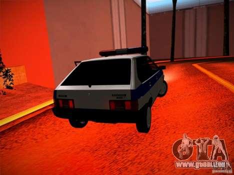 Police Vaz 2109 pour GTA San Andreas sur la vue arrière gauche