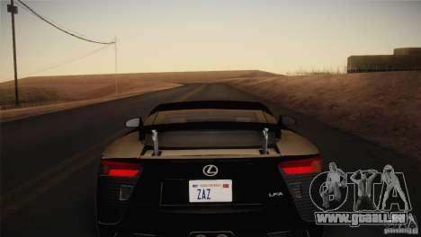 Lexus LFA (US-Spec) 2011 pour GTA San Andreas sur la vue arrière gauche