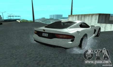 Dodge SRT Viper GTS 2013 pour GTA San Andreas sur la vue arrière gauche