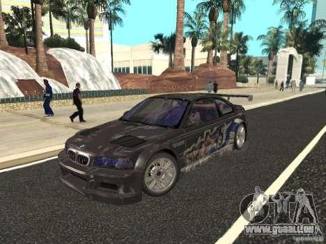 BMW M3 GTR de NFS Most Wanted pour GTA San Andreas vue de côté