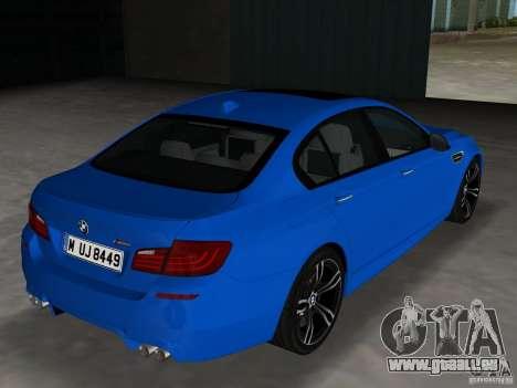 BMW M5 F10 2012 pour une vue GTA Vice City de la droite