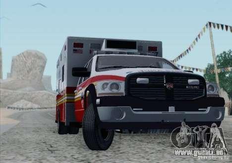 Dodge Ram Ambulance pour GTA San Andreas vue de dessous