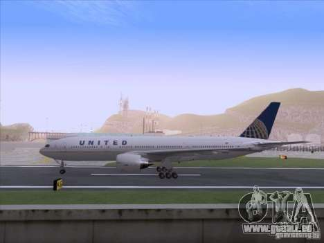 Boeing 777-200 United Airlines für GTA San Andreas rechten Ansicht