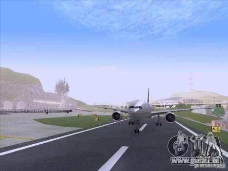 Boeing 777-200 United Airlines für GTA San Andreas zurück linke Ansicht