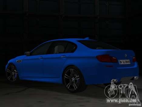 BMW M5 F10 2012 pour GTA Vice City sur la vue arrière gauche