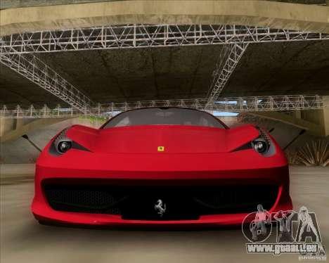 Ferrari 458 Italia V12 TT Black Revel pour GTA San Andreas laissé vue