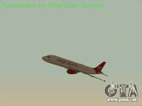 Airbus A320-211 Virgin Atlantic für GTA San Andreas Seitenansicht