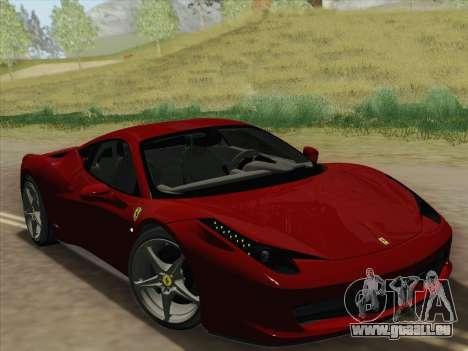 Ferrari 458 Italia 2010 pour GTA San Andreas vue de dessous