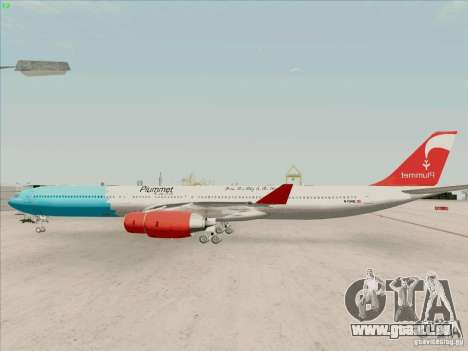 Airbus A-340-600 Plummet für GTA San Andreas linke Ansicht