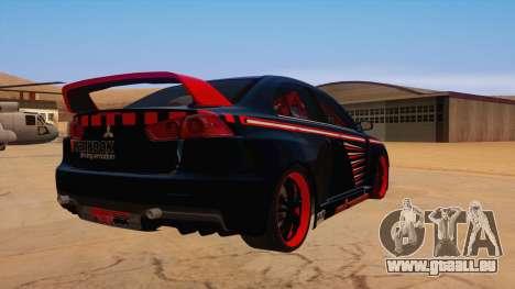 Mitsubishi Lancer Evolution X Pro Street pour GTA San Andreas vue de droite