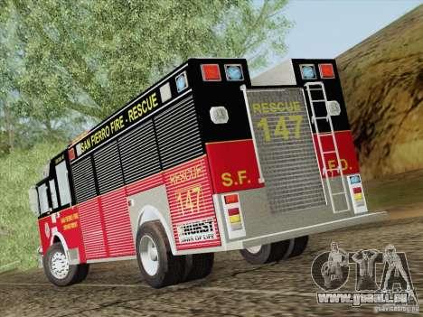Pierce SFFD Rescue pour GTA San Andreas vue de dessus