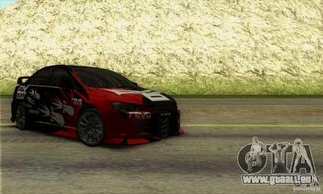 Mitsubishi Lancer Evolution X 2008 für GTA San Andreas Rückansicht