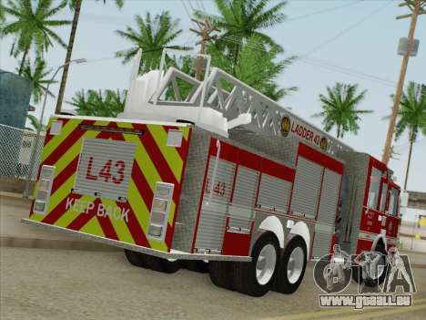 Pierce Arrow LAFD Ladder 43 für GTA San Andreas zurück linke Ansicht