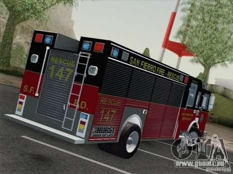 Pierce SFFD Rescue pour GTA San Andreas sur la vue arrière gauche