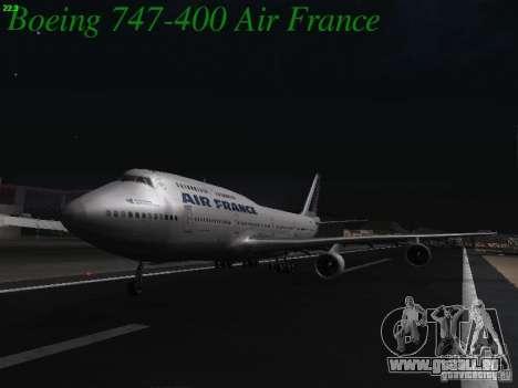 Boeing 747-400 Air France pour GTA San Andreas sur la vue arrière gauche