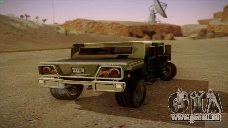HD Patriot pour GTA San Andreas sur la vue arrière gauche