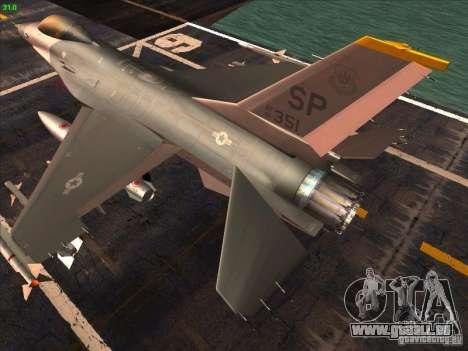 F-16C Fighting Falcon pour GTA San Andreas sur la vue arrière gauche