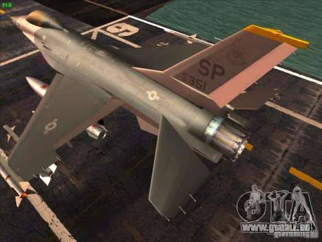F-16C Fighting Falcon für GTA San Andreas zurück linke Ansicht