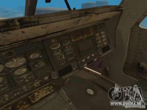 Die UH-60 von COD MW3 für GTA San Andreas Innenansicht