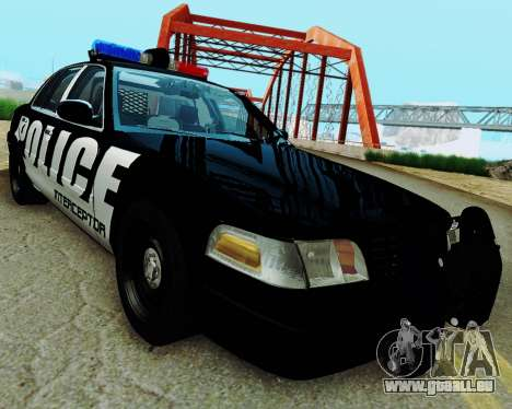 Ford Crown Victoria Police Interceptor 2011 pour GTA San Andreas sur la vue arrière gauche