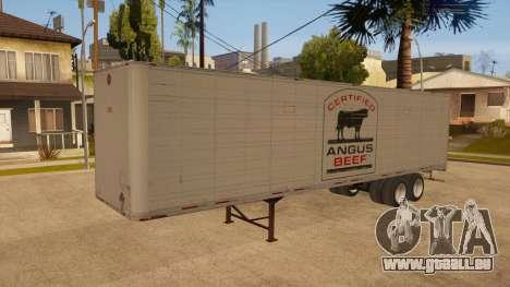 Remorque tout métal pour GTA San Andreas vue arrière