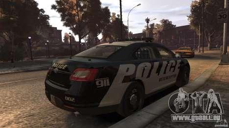 Ford Taurus Police Interceptor 2010 ELS pour GTA 4 Vue arrière de la gauche
