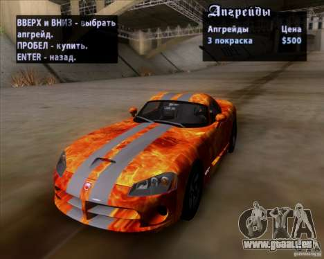 Dodge Viper SRT-10 Coupe pour GTA San Andreas salon
