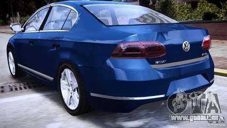 VW Passat B7 TDI Blue Motion pour GTA 4 Vue arrière de la gauche