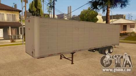 Remorque tout métal pour GTA San Andreas vue de côté