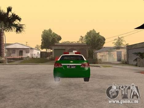 Chevrolet Cruze Carabineros Police für GTA San Andreas zurück linke Ansicht