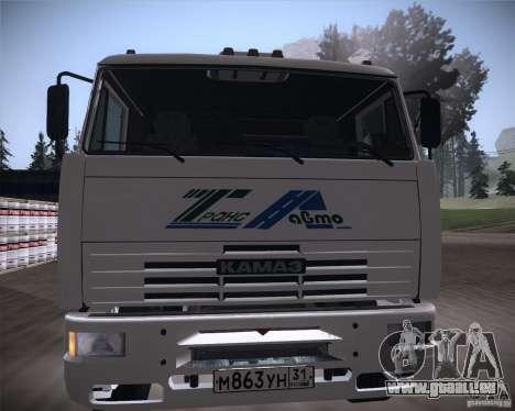 KAMAZ 65117 für GTA San Andreas Innenansicht