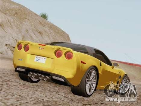 Chevrolet Corvette ZR1 pour GTA San Andreas sur la vue arrière gauche