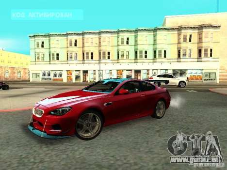 BMW M6 2013 pour GTA San Andreas sur la vue arrière gauche